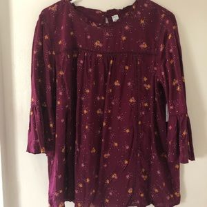 NEW Old Navy Maroon Floral Flowy Blouse, Size L